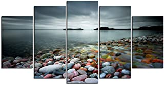 sechars - Peaceful Ocean Large 5 Panels Colorful Stones Under Sunset Landscape Canvas Prints Wall Art for Home Decorations Framed Art Ready to Hang