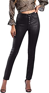Aozu Leopard Print Winter PU Leather Pants for Women