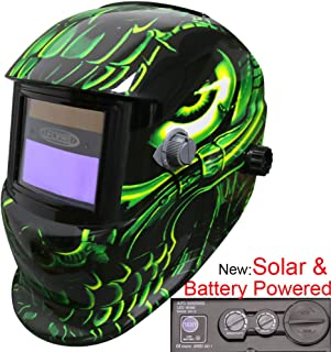 Leopard LEO-WH86 Funciona con Energía Solar + Oscurecimiento Automático + Función De Rectificado + 9-13 Sombra Máscara De Casco De Soldadura con 5 Lentes De Repuesto Gratis | Extraterrestre