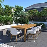 Amazonia Cicero 9-Piece Outdoor Rectangular Dining Table Set | Teak Finish | Ideal for Patio and Indoors