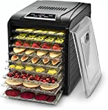 Gourmia GFD1950 Premium Countertop Digital Food Dehydrator - 9 Drying Shelves - Preset Temperature Settings - Airflow Circulation - Countdown Timer - Free Recipe Book Included - Black
