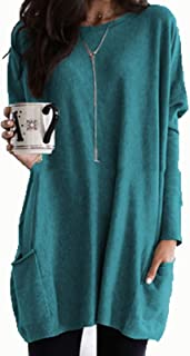 Casual Tops Womens Casual Long Sleeve Pullover Round Neck T Shirts Blouses Sweatshirts Tops with Pockets Tee (Color : Peac...