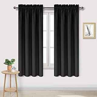DWCN Blackout Curtains – Thermal Insulated, Energy Saving & Noise Reducing Bedroom and Living Room Curtains, Black, W 42x ...