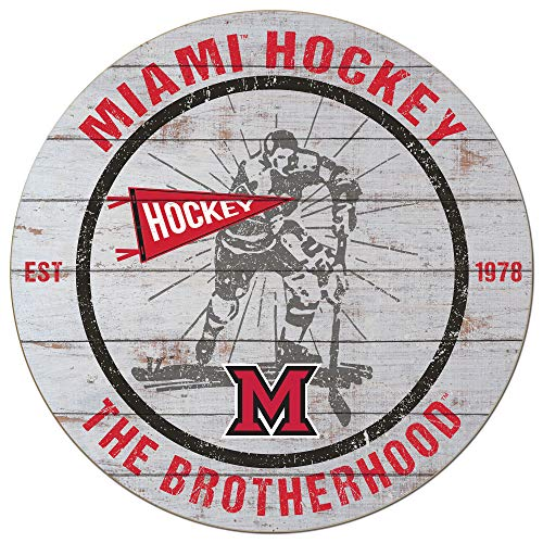 KH Sports Fan 20x20 Weathered Circle - Throwback Miami of Ohio Redhawks-Hockey