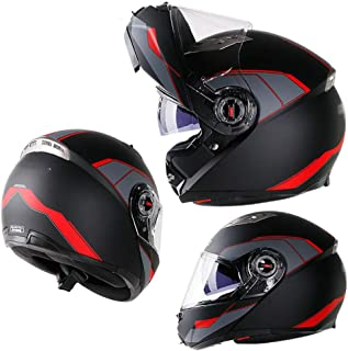BBJZQ Full Face Motorbike Helmet Modular Flip Up Front Motorcycle Helmet Hd Double Anti-Fog Lens Bluetooth Slot Design Good Ventilation Off-Road Riding Motocross Half Helmet DOTApproved