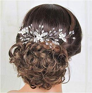 IYOU Diadema para novia diseño de flores y cristales de estrás plateados para novia diademas de perlas y hojas para el pel...