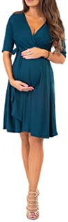 Mother Bee Maternity Women's Knee Length Wrap Dress with...