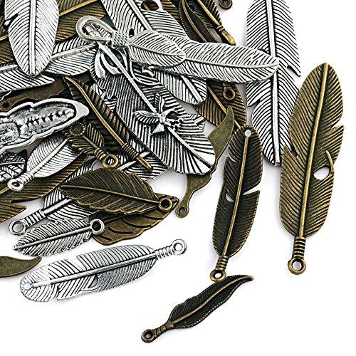 Naler 40 Stück Charms Anhänger Feder Retro Antik Silbern Bronze Mischung für Schmuck Basteln