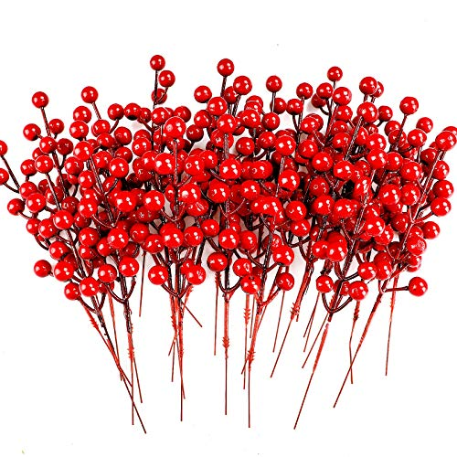 COCOBOO 40pcs Christmas Red Berry Picks Artificial Red Berries Stems for Christmas Holiday Crafts