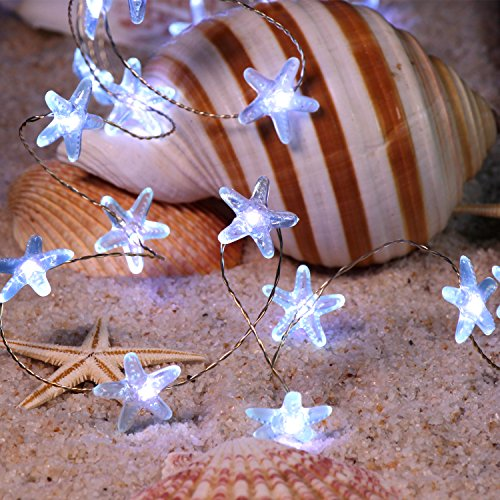 FLAVCHARM Starfish String Lights Indoor, 40 LEDs Beach Themed Decorative LED Fairy Lights, Battery Operated with Remote Lights of String for Summer Party Lights, Ocean Decor, Bedroom