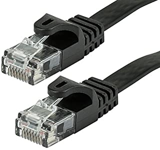 Monoprice Cat5e Ethernet Patch Cable - Network Internet Cord - RJ45, Flat,Stranded, 350Mhz, UTP, Pure Bare Copper Wire, 30AWG, 25ft, Black