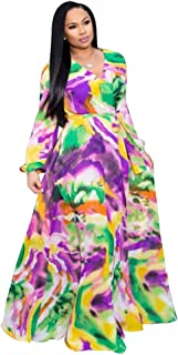 02f9d3086a5c Nuofengkudu Womens Stylish Chiffon V-Neck Printed Floral Maxi Dress with  Waisted Belt Plus Size