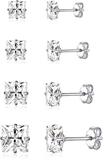 3-7mm Silver Stud Earrings for Women Men Girls, 925 Sterling Silver Round/Square Cubic Zirconia Hypoallergenic Stud Earrin...