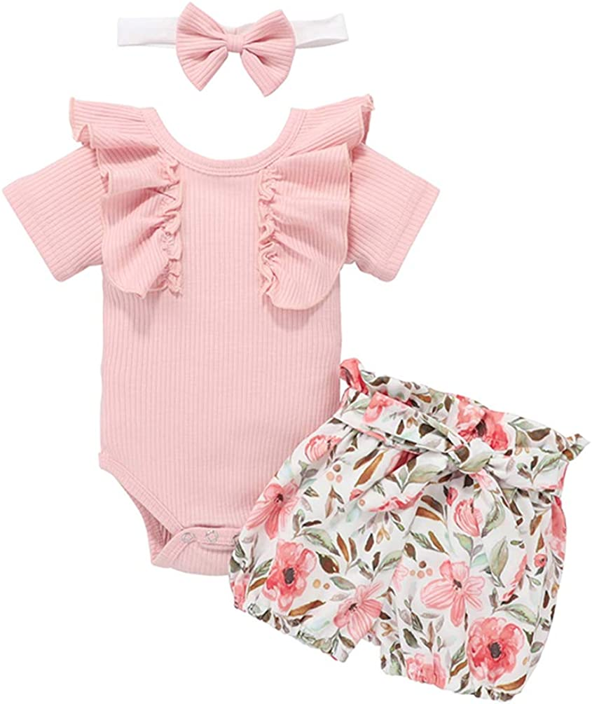 Baby Girls Ruffle Ribbed Romper Bodysuit Floral Shorts Pants Headband 3PC Outfit