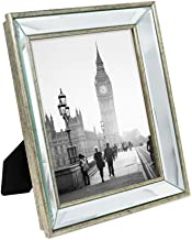 Isaac Jacobs 8x10 Silver Beveled Mirror Picture Frame - Classic Mirrored Frame with Deep Slanted Angle Made for Wall Décor Display, Photo Gallery and Wall Art (8x10, Silver)