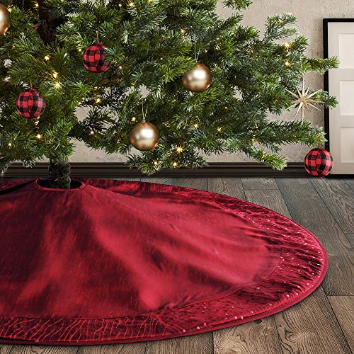 Meriwoods Christmas Tree Skirt 48 Inch, Large Faux Silk Tree Collar with Embroidered Sequins, Country Rustic Indoor Xmas Decorations, Burgundy Red