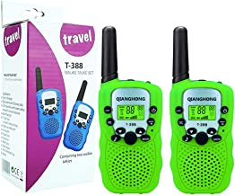 Qianghong T3 Kids Walkie Talkies 3-12 Year Old Children's Outdoor Toys Mini Two Way Radios UHF 462-467 MHz Frequency 22 Channels - 1 Pair Green