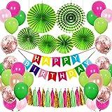 Decoración de cumpleaños de SPECOOL, Happy Birthday Guirnalda, Globos Multicolores Bosqu...