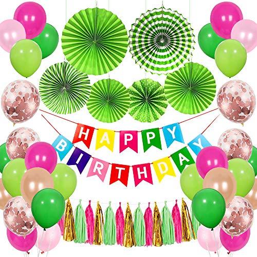 Decoración de cumpleaños de SPECOOL, Happy Birthday Guirnalda, Globos Multicolores Bosque Tema Feliz Cumpleaños Decoración, Decoración de la selva, Fiesta de Carnaval Mexicano