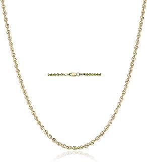 "18K Gold 2.5MM Diamond Cut Rope Chain Necklace Unisex Sizes 16""-30"" - 18 Karat Gold"
