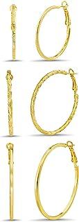 Steve Madden 35mm 45mm 50mm Yellow Textured Hoop Earrings for Women Three Pair Set
