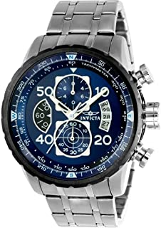 New!!! Invicta 22970 Men's Aviator Blue Dial Steel Bracelet Chronograph Compass Watch with SYB