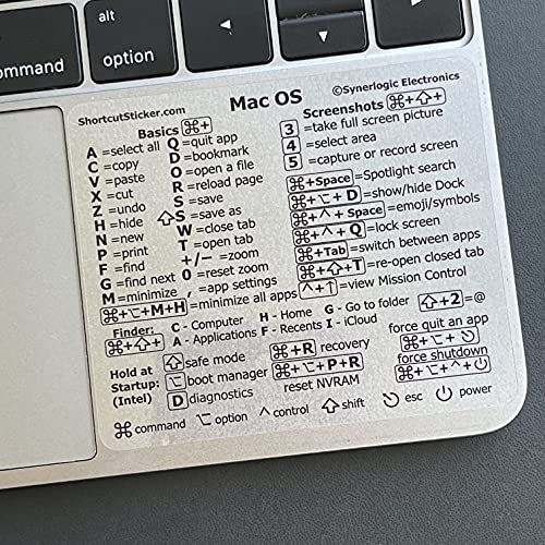 SYNERLOGIC Mac OS (Big Sur/Catalina/Mojave) Keyboard Shortcuts, Clear Vinyl Sticker, Long-Lasting No-Residue Adhesive, Compatible with Any (11 to 16-inch) MacBook Air or Pro with Intel CPU