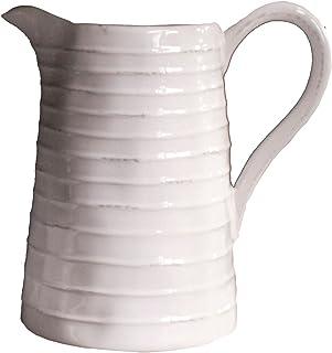 Creative Co-Op DA3081 White Ceramic Pitcher,48 Ounce