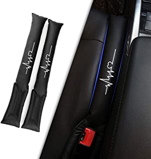 Muchkey Auto Seat Gap Filler Mit weißem reflektierendem Electrocardiogram Label Autositz Lueckenfueller Soft Padding Spacer PU Leder schwarz 2St
