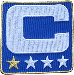 Royal Blue w/ 1 Gold Star Captain C Patch Iron On for Football Jersey (Buffalo)