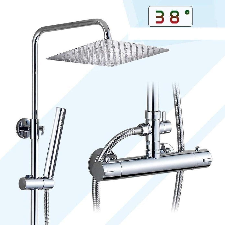 許容番号液体レインシャワーシステム シャワーセットシャワーシステムクロームサーモスタットの浴室のシャワー蛇口セットデュアルハンドル降雨8インチステンレス鋼のシャワーヘッドの壁シャワーミキサー 高圧