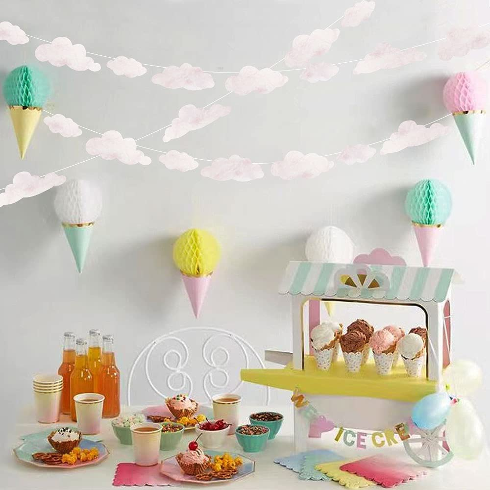Cloud Party Decoration Kit Garland mart New color White Marble Pink Cutou Paper