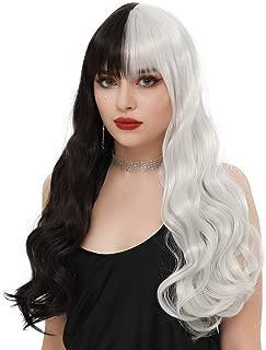 SEIKEA Half Black Half White Wig Long Wavy Hair with Bangs Cute Cosplay Costumes