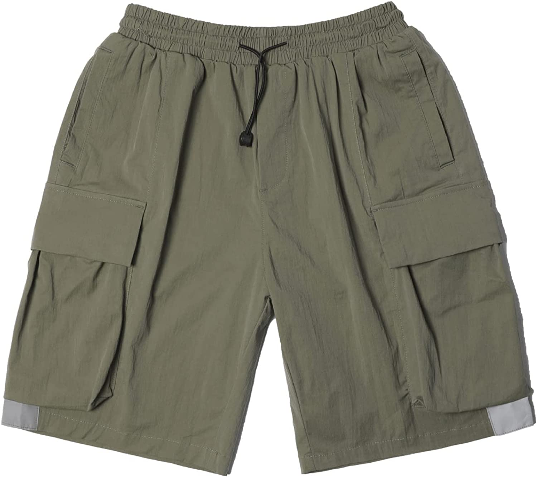 Katenyl Men's Thin Cargo Shorts Trend Stitching Multi-Pocket Color Matching Streetwear
