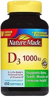 Nature Made Vitamin D3 1000 IU, Mega Size, 650-Count Softgels