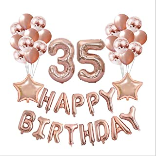 37Pcs/Lot 16 21 30 40 50 60Th Happy Birthday Rose Gold Star Confetti 40Inch Number Foil Balloon Birthday Party Decor Supplies Number 35 Set