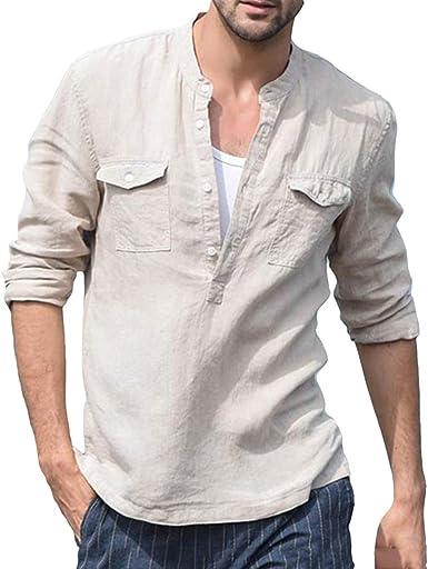 Camisa de Lino para Hombre Cuello Mao Manga Larga Henley T ...