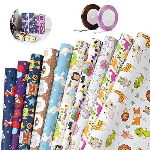 Geschenkpapierbogen - ZWOOS Geschenkpapier Kinder Geschenkpapier Ostern Geschenkpapier Geburtstag Geschenkpapier Niedlicher Tierentwurf Für Geburtstag, Urlaub, Party, Babyparty (75 * 52cm)*10pcs