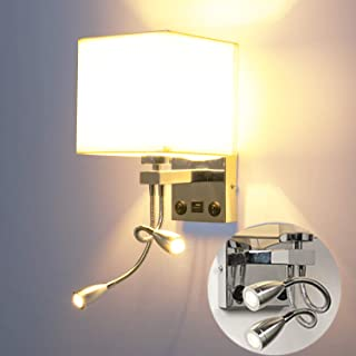 LEDMO Lámpara de lectura,Lámpara de pared Bombilla regulable E27 de 3 colores 5W, con interruptor,2 luces de lectura flexibles ajustables y 1 interfaz USB