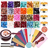 Wax Envelope Seal Stamp Kit, Anezus 645pcs Wax Letter Seal Kit with Wax Seal Beads, Sealing Wax Warmer, Wax Envelopes, Wax Stamp and Metallic Pen for Wax Seal
