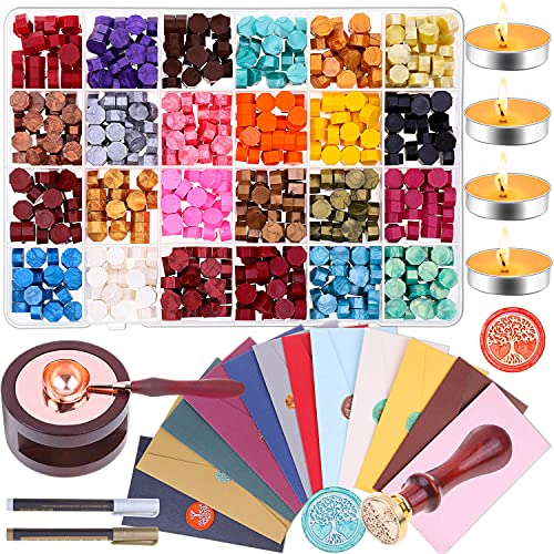 anezus Wax Envelope Seal Stamp Kit, anezus 645pcs Wax Letter Seal Kit with Wax Seal Beads, Sealing Wax Warmer, Wax Envelopes, Wax Stamp and Metallic Pen for Wax Seal