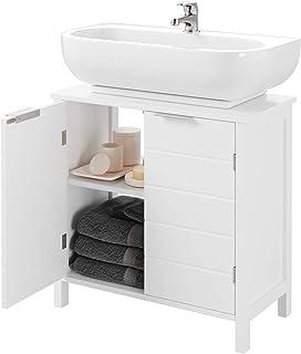 Homfa Mueble Baño Lavabo Armario Bajo Lavabo Armario Auxiliar de Suelo para Baño con 2 Estantes 2 Puertas Blanco 60x30x60cm