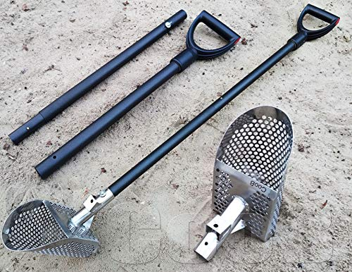 CooB Beach Sand Scoop Scoops Shovel, Metal Detector Hunting Stainless Steel Tool, Hexahedron Holes, Collapsible Travel Light Strong Carbon Fiber Handle Pole Krepish v2