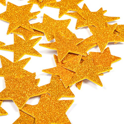 6 Pack Foam Star Letter Stickers Glitter Gold Star Planner Stickers 3D Cute Photo Stickers Laptop Stickers Happy Planner Stickers for DIY Arts and Crafts,Daily Planner (Gold Star)