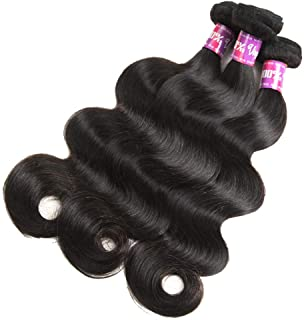 Hairpieces Hairpieces Fashian Brazilian Human Hair Body Wave Bundles with Free Part Lace Closure Unprocessed Natural Black Colour for Daily Use and Party (Color : Black, Size : 10 inch)