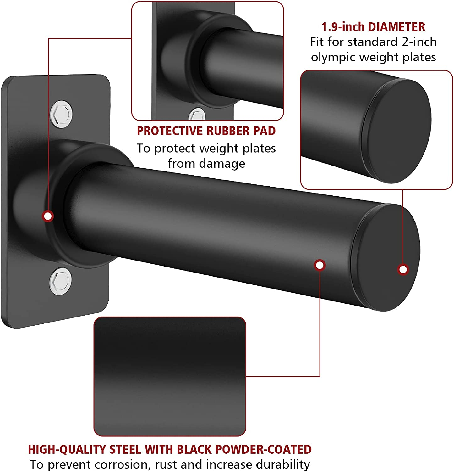 """Ulalov Wall Mounted Weight Plate Holder - Weight Plates Storage Fits 2"""" Olympic Weight Plates, Power Rack Weight Plate Attachment Accessories 9 inch, Protective Rubber Pad Hardware Included Pair : Sports & Outdoors"""