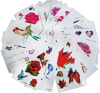 Body Art Temporary Tattoos Leaf Flower Animal Fake Tattoo Sticker, Transfer Floral Mermaid Feather Reindeer Party False Tattoos Sleeve for Women, Girls, Kids (30 Sheet)