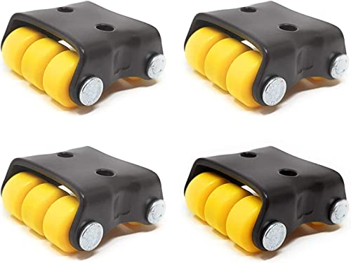 NexStar Wheels for Furniture 6 Wheels Mini Small Moving Castor Wheel Black 4 Pieces in 1 Box 150kg Load Capicity Yellow