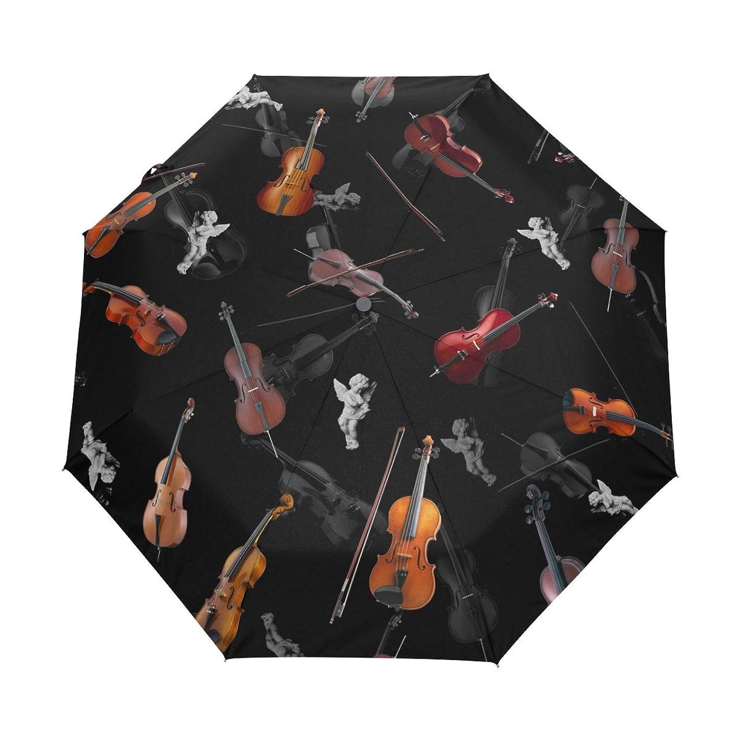 Ethel Ernest Creative Violins Folding Windproof Umbrella Waterproof Auto Foldable Umbrella