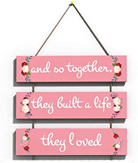 100yellow Love Quote Wall Hanging Board Plaque Sign for Room Decoration (12 x 10.5 Inch)-Wood